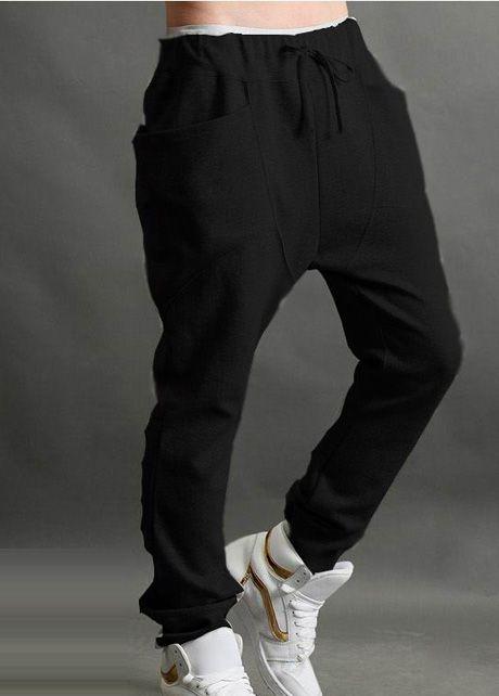 Sack Drawstring Harem Black Sweat Pants