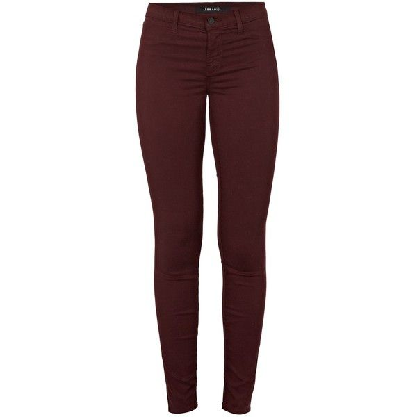 J BRAND Mid-Rise Super Skinny in Mulberry Red ($310) ❤ liked on Polyvore featuring jeans, pants, bottoms, mulberry, mid rise skinny jeans, j-brand skinny jeans, medium rise jeans, j brand and embellish jeans