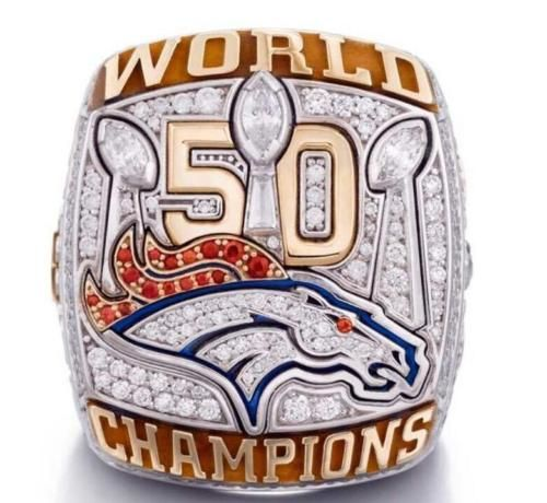 2015 Denver Broncos Super Bowl 50 Mistrzostwa Pierścień USA Rozmiar 6-14