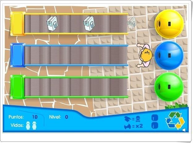 """""""Selector de residuos"""" es un pequeño y sencillo juego de Consumópolis que trata de familiarizar al niño pequeño sobre la necesidad de reciclar los residuos y conocer qué contenedor corresponde a cada producto a reciclar."""