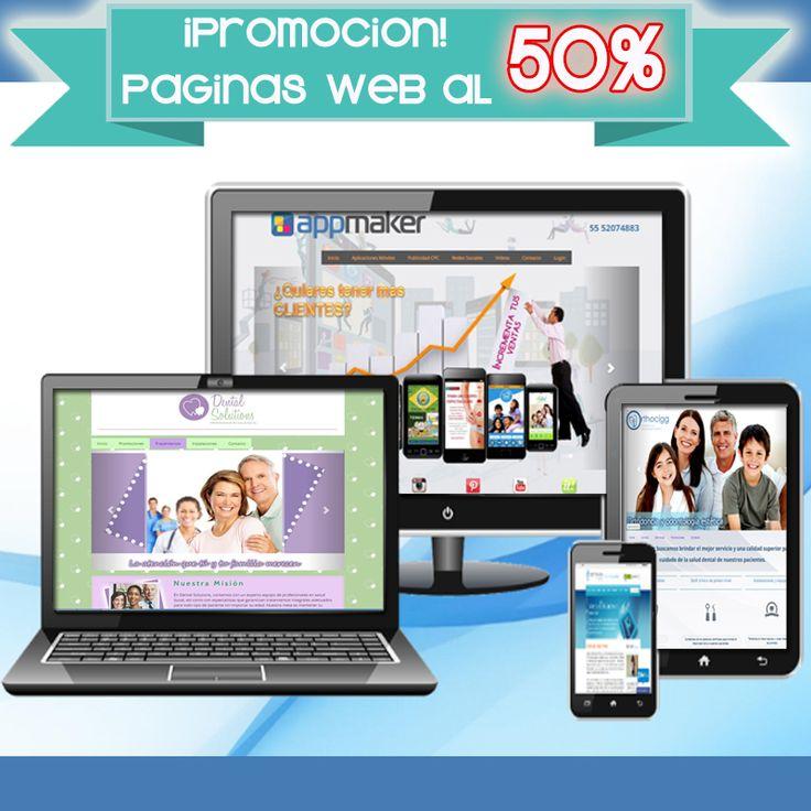 Promoción del 50% Diseñamos la pagina web perfecta para tu negocio. #paginas web #web pages #apps #marketing Movil #appmaker mexico