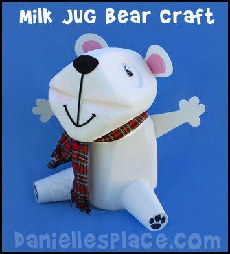 Milk Jug Bear Craft from www.daniellesplace.com