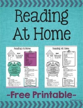 This free Reading At Home printable is perfect to hand out at conferences and back to school nights! It's so important for students to read at home, and this printable gives ideas of who, what, when, where, why, and how to read.