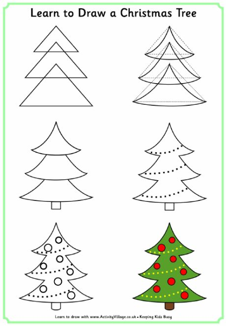 Learn to draw a Christmas tree for Christmas activity book - leave blank page next so children can practise