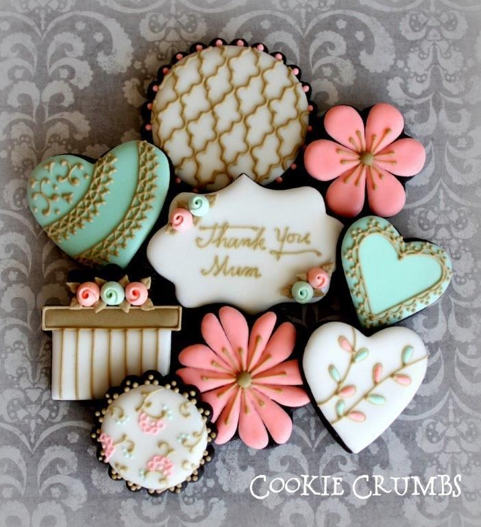Mothers' Day Cookies turquoise teal coral salmon ivory gold hearts flowers