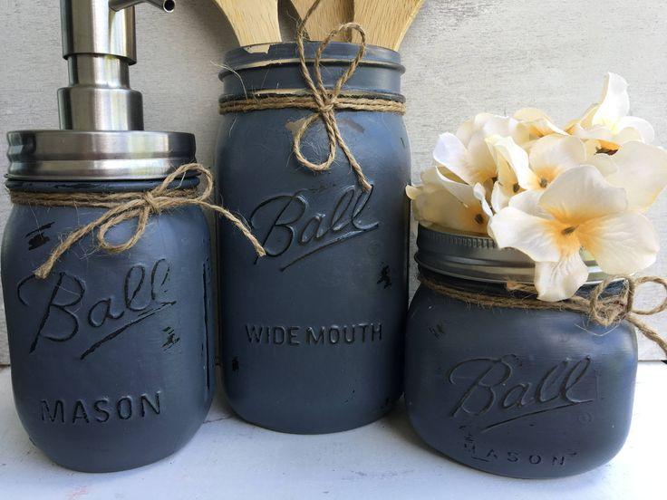 Painted Mason Jars. Mason Jar Kitchen Set. Kitchin Decor. Rustic/Vintage Home Decor. Vase. Soap Dispenser. Kitchen Utensil Holder. Gift. by WineCountryAccents on Etsy