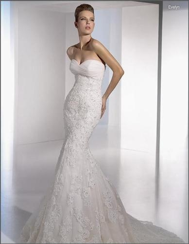 Slinky mermaid trumpet sweetheart lace wedding dress for Sweetheart lace trumpet wedding dress