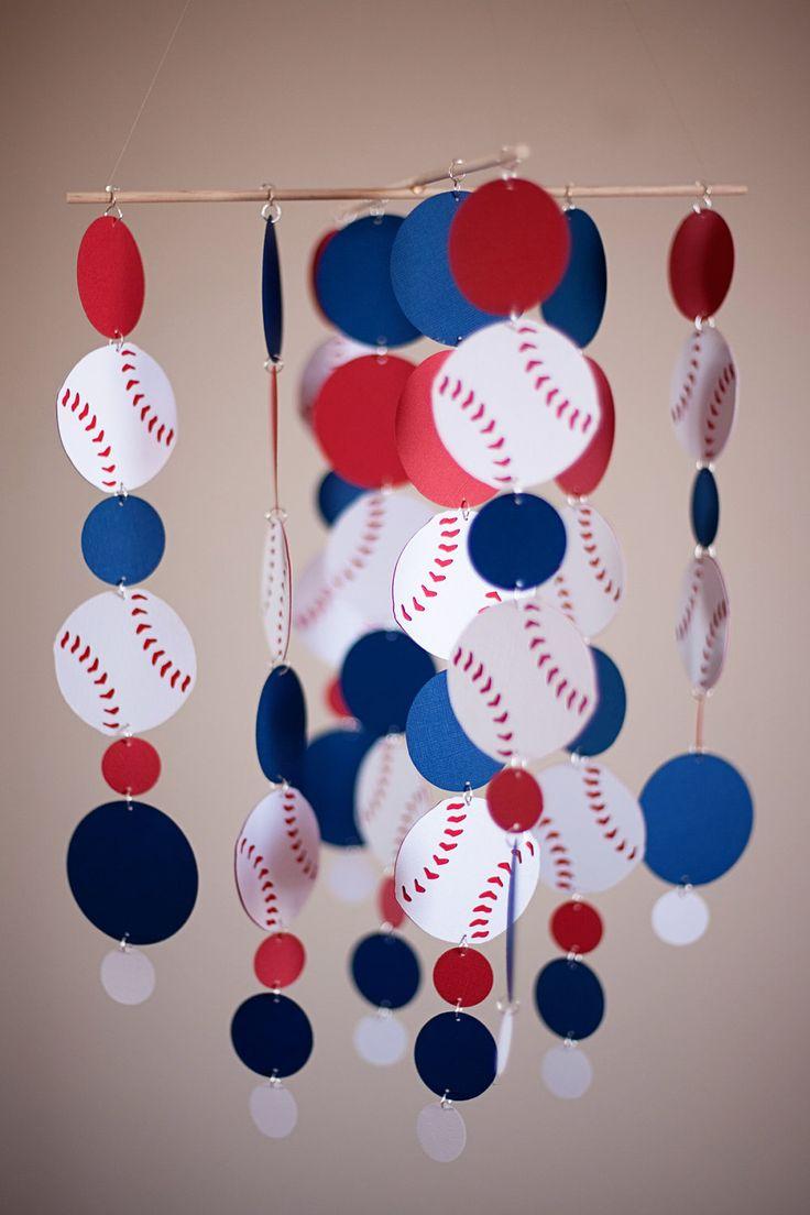 Baseball Themed Nursery Decor: Red, White & Blue Baseball Baby Crib Mobile