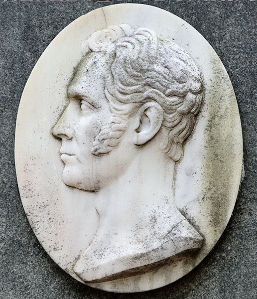 Portrait of the Russian poet Nikolay Gnedich (1784—1833) by Anton Andreevich Ivanov (?—1852). 1835 (replica of 1961). The medaillon on the tombstone of Nikolay Gnedich in the Tikhvin Cemetery, Saint Petersburg. Photo by Dmitry Ivanov, 2015. #basrelief #sculpture