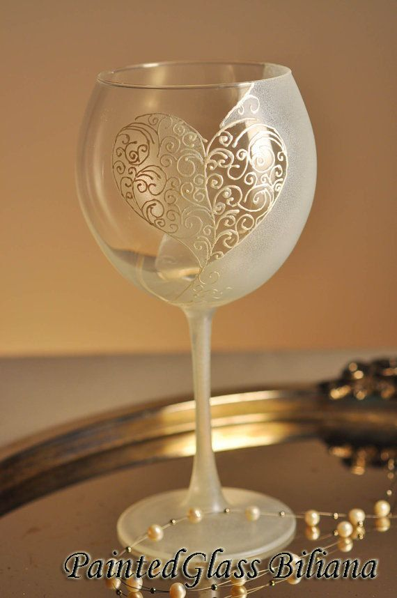 Delicate hand painted wine glass with a big lace heart made in pearl color and white frost effect. Safety packing, ready to ship.  Аuthors