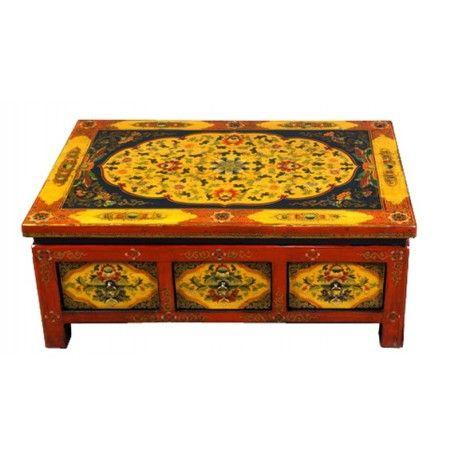 """Table basse tibétaine """"Kang"""" avec tiroirs. Dim : L100xP65xH40 cm. Origine : TIBET. Frais ecotax inclus. Sur mesure, nous contacter. Rêve d'Asie. Suisse."""