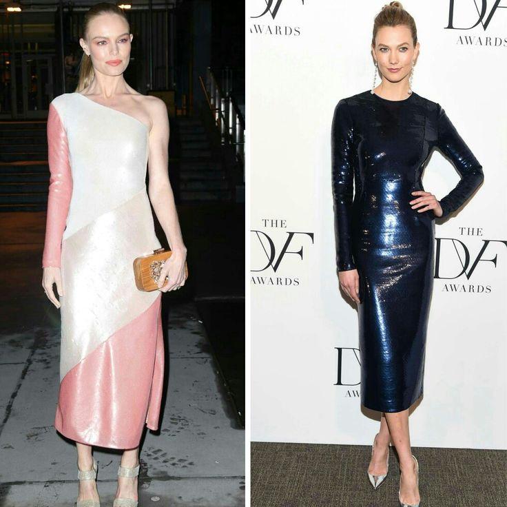 Outras duas que arrasaram no DVF Awards foram a Kate Bosworth e a Karlie Kloss, com vestidos cintilantes no mesmo estilo, em tons diferentes. Adorei as produções!⭐ #glamourous #katebosworth #karliekloss #fashionstyles #inspirations #dvfawards #newyork