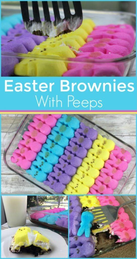 Easter Brownies with Peeps
