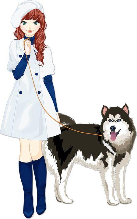 동물, 개, 동반자, 여성, 소녀, 사람들, 애완 동물, 여자