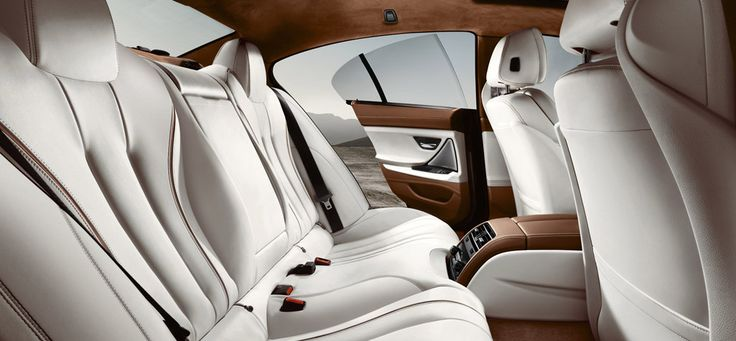 BMW 650i Gran Coupe interior featuring Cognac/Black Nappa leather with a sunblind for the rear window