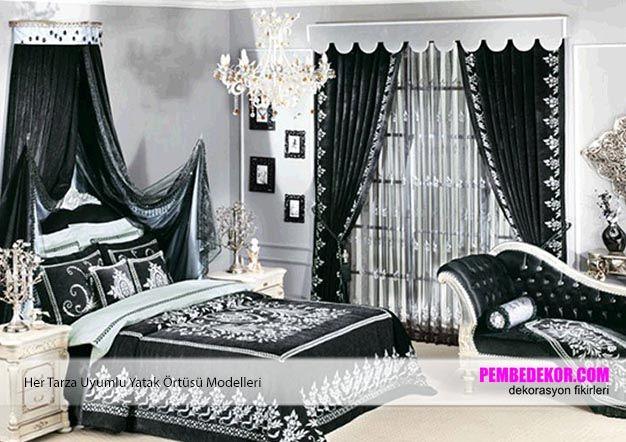 siyah yatak örtüsü modelleri