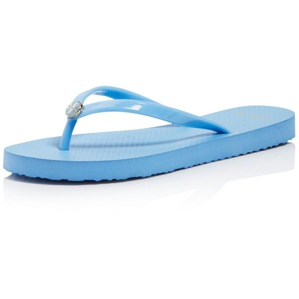 Tory Burch Women's Solid Thin Flip-Flops ($50) ❤ liked on Polyvore featuring shoes, sandals, flip flops, light chambray, tory burch, tory burch footwear, tory burch flip flops, tory burch shoes and tory burch sandals