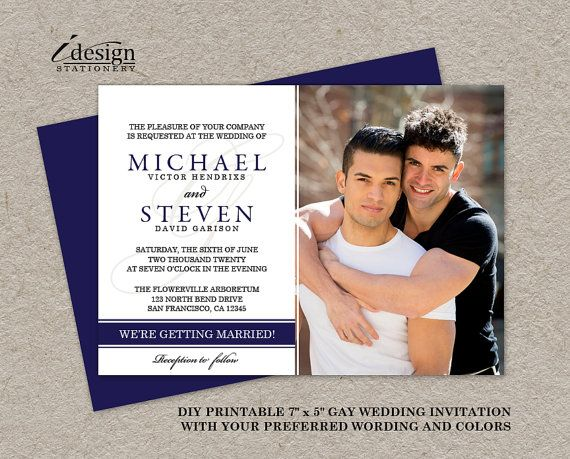 Gay Wedding Photo Invitations, DIY Printable Navy Blue Photo Wedding Invites, Elegant Gay Marriage Announcement Cards