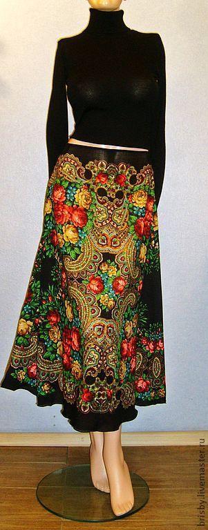 """Купить Юбка-макси из павловопосадских платков """"Незнакомка"""" - черный, цветочный, павловопосадский платок, юбка из платков"""