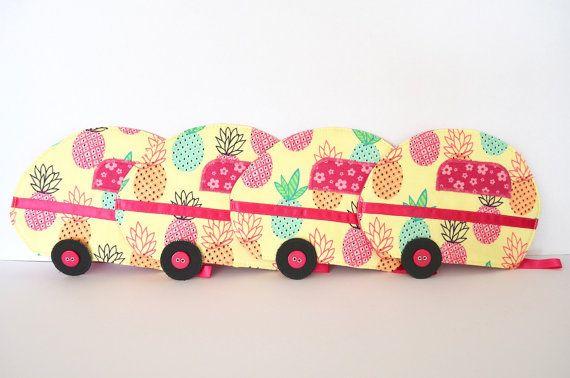 Pineapple caravan coaster set lemon pink by RobynFayeDesigns