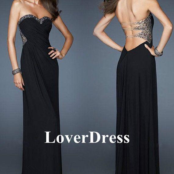 Black Prom Dress, Beaded Prom Dress, Beaded Pageant Dress, Sweep Train Prom Dress, Long Prom Dress with Strapless Back and Sheer Material on Etsy, $147.00