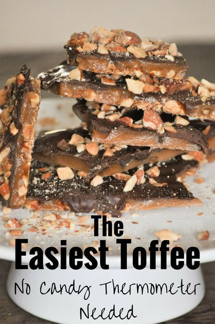 This is the easiest toffee recipe out there. Homemade candy can be scary, but not this recipe. It has an almond roca taste. So good!!