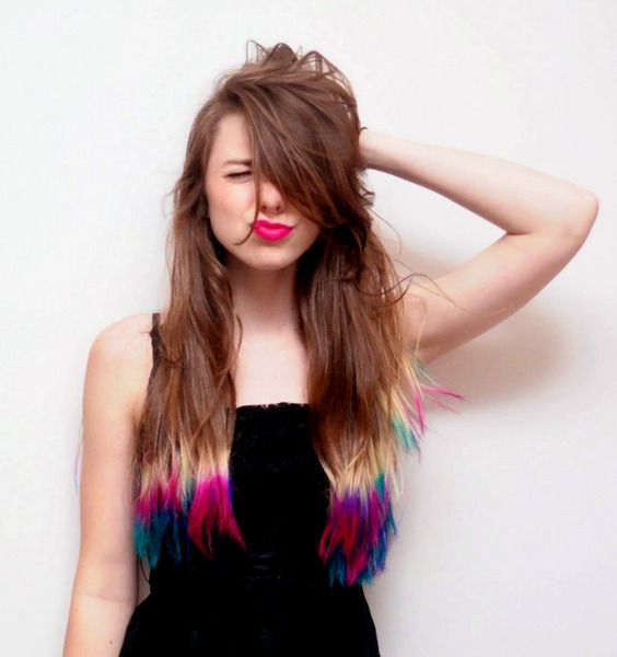 Brown Hair with Hot Pink, Bold Red, Purple and Blue dip-dyes. O.O