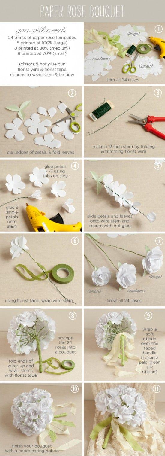 Casamento: passo a passo para fazer buquê de papel. Foto Ellinée.                                                                                                                                                                                 Mais