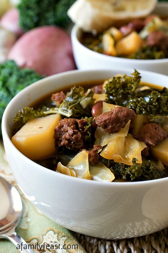 Portuguese Kale Soup - Often called the national soup of Portugal, this soup is easy to make and very delicious!