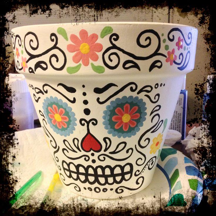 Sugar Skull Painted Flower Pot