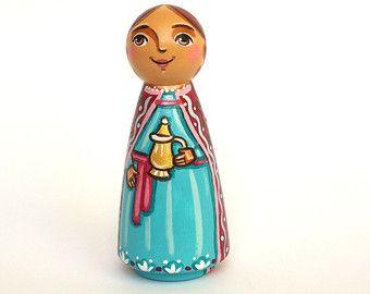 St Catherine of Alexandria peg doll Saint by UnderAngelWings