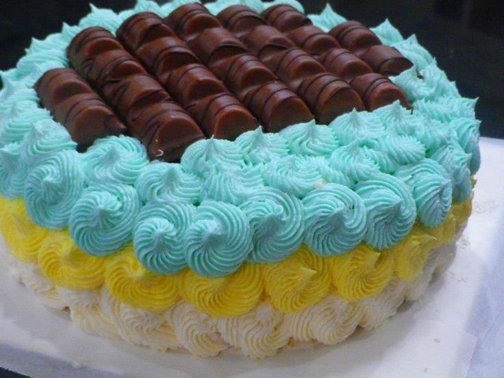 Two Layers Vanilla Chocolate Chip Cake.