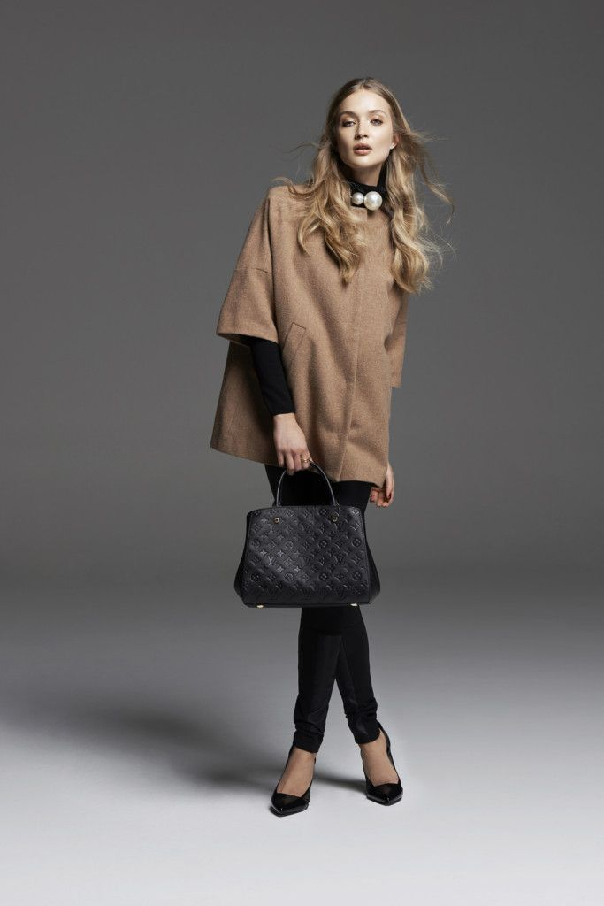 Tan cropped sleeve coat, roll neck jumper and ponte leggings
