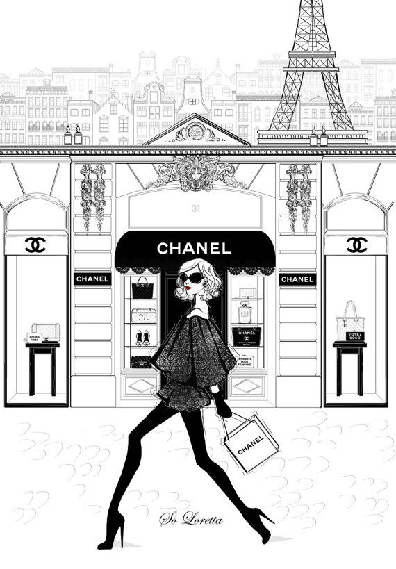 Two of two Chanel store front print. I call this piece A Chanel girl in Paris. Inspired by the Chanel 31 rue cambon store in Paris! As much fun as it