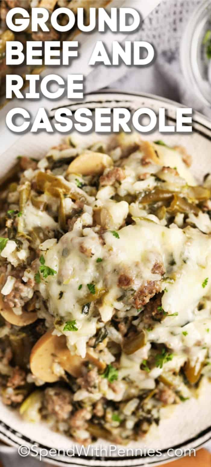This Ground Beef Rice Casserole Is The Perfect Weeknight Dinner In 2020 Ground Beef Rice Beef And Rice Ground Beef Recipes For Dinner