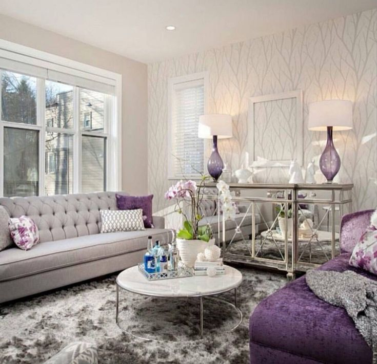 30 Timeless Taupe Home Décor Ideas: 30 Cute Living Room With Purple Color Schemes Design Ideas