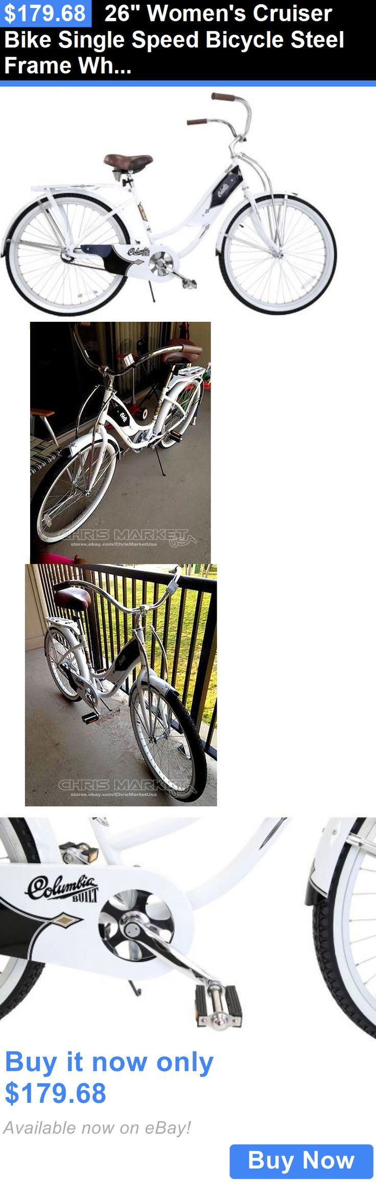 bicycles: 26 Womens Cruiser Bike Single Speed Bicycle Steel Frame White BUY IT NOW ONLY: $179.68