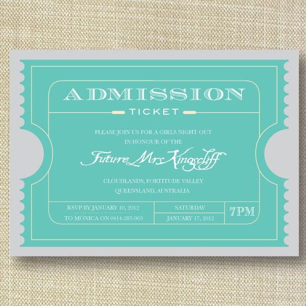 Movie Ticket Vintage Bachelorette Party Invitations