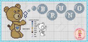 Oi  vim trazer para vocês um gráfico de ursinhos que fiz acompanhado de monograma.   Bons bordados tenham um ótimo dia.                  ...