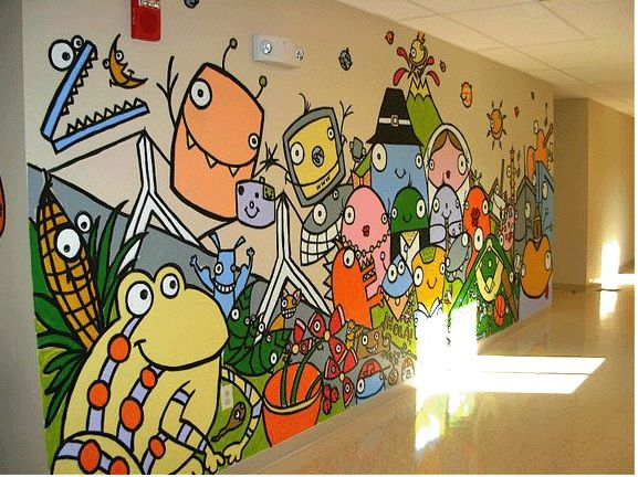 98 best school murals images on pinterest murals art for Elementary school mural ideas