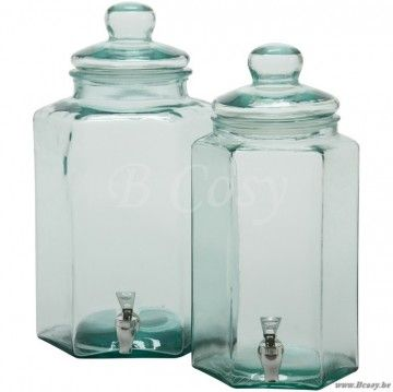 J-Line Zeshoekige drankdispenser in transparant glas L 45h