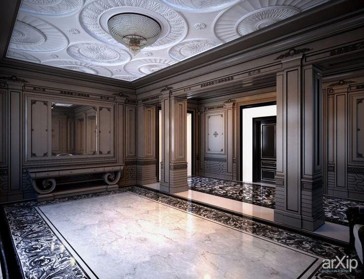 Фото Холл особняка в классическом стиле. - интерьеры, прихожая, холл, вестибюль, фойе, квартира, дом, классика, ампир, неогрек, палладианство, 30 - 50 м2