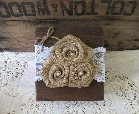 Ring Bearer Pillow Ring Bearer Wood Box Shabby Chic Wedding Rustic Wedding Flower Girl Basket ...