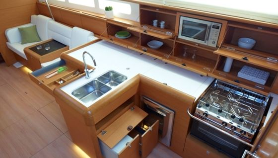 Jeanneau so509 galley trailer living pinterest boating for Boat galley kitchen designs