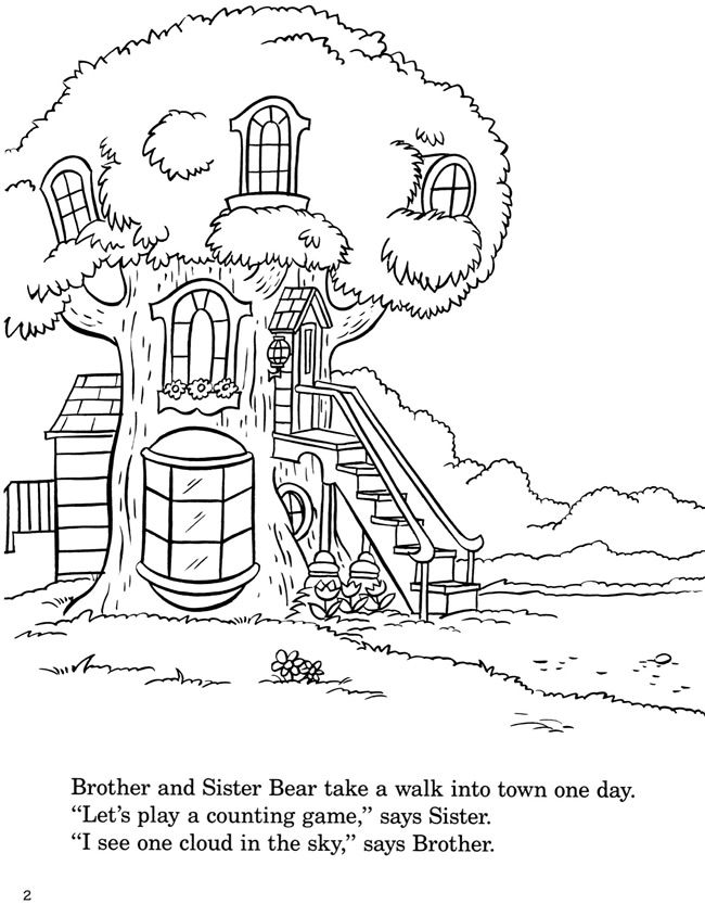 colouring in page sample from berenstain bears coloring with numbers book via - Berenstain Bears Coloring Book