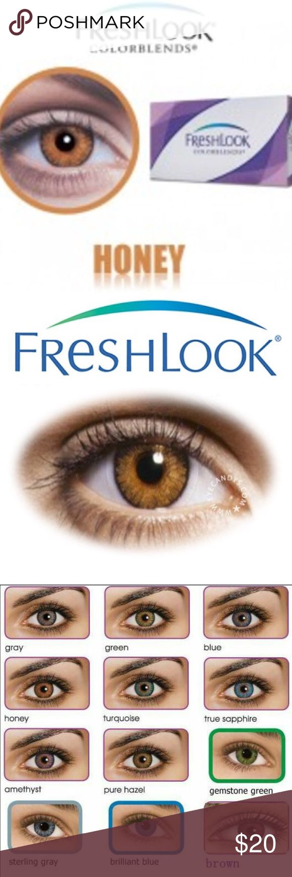 2 Boxes-2 pair Honey Freshlooks Contacts **Can choose your own colors ALL colors are available**  Product Information: FreshLook COLORBLENDS All products are brand new in sealed box. ONE box contains one pair of lenses. Expiration date: 2019-2020 14.5 diameter  Will last 6 to 8 months with proper care.  NON - prescription lenes No returns, all sales final, due to health reasons.  Other colors available: Amethyst Hazel Gray Brilliant Blue  Gemstone Green  Honey  Turquoise  Brown True Sapphire…