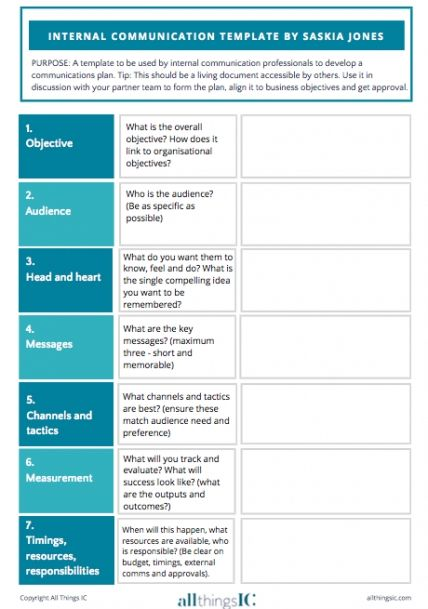 Free Internal Comms Plan Template All Things Ic Intended For Internal Communications Plan