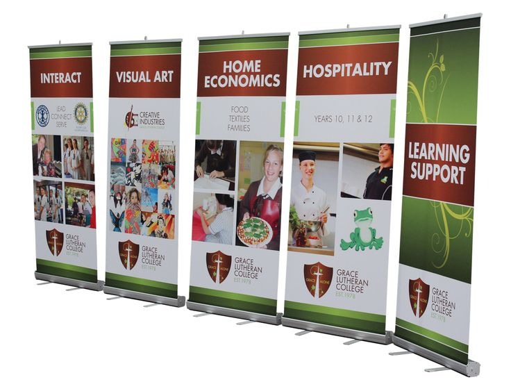 This great setup of pull-up banners for Grace Lutheran College was made by Star Outdoor. The story of this school can be told to it's full potential with these stunning, eye-catching banners! Tell your school's story though our products at www.StarOutdoor.com.au