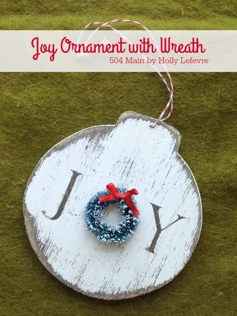 Joy Ornament with Wreath - Rustic love