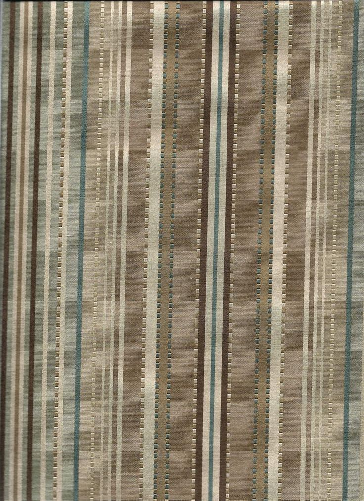 Kent Stripe In Stream Color Chocolate And Taupe Brown And Teal Blue Colors Striped Fabric For